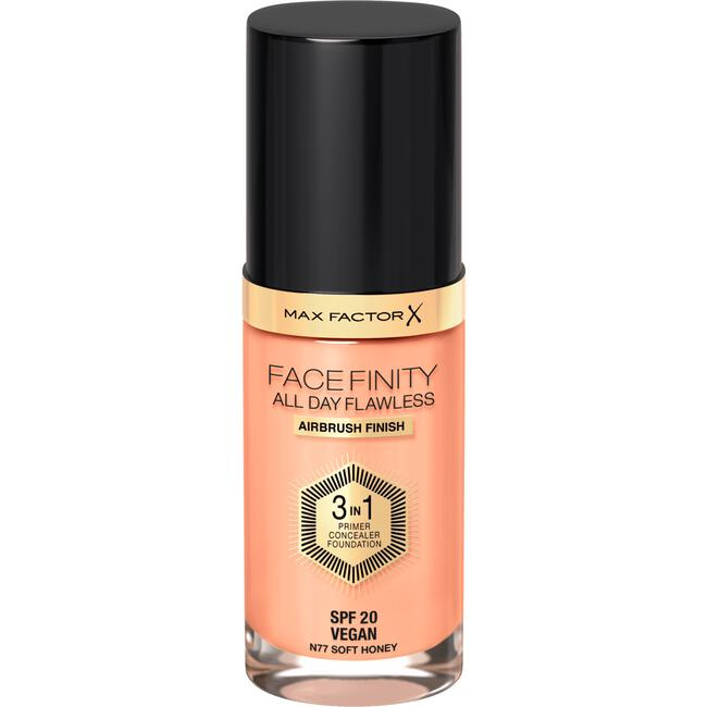Max Factor Facefinity All Day Flawless 3-in-1 Vegan Foundation 77 Soft Honey