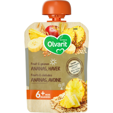 Olvarit Fruit & Granen Ananas Haver Knijpzakje 6M+