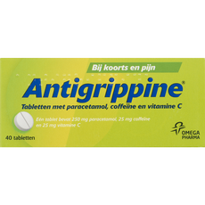 Anti-Grippine Tabletten met Paracetamol, Coffeïne, Vitamine C