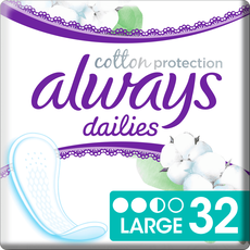 Always Dailies Cotton Protection Inlegkruisjes Large 32 stuks