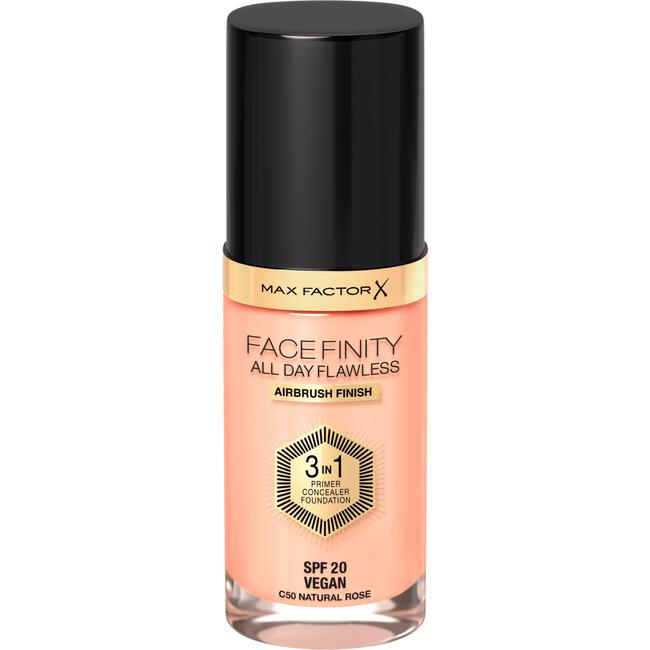 Max Factor Facefinity All Day Flawless 3-in-1 Vegan Foundation 50 Natural Rose