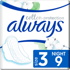 Always Cotton Protection Ultra Maandverband Met Vleugels (Maat 3) 9 Stuks