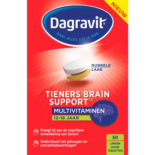 Dagravit Tieners Brain Support Multivitaminen Kauwtabletten