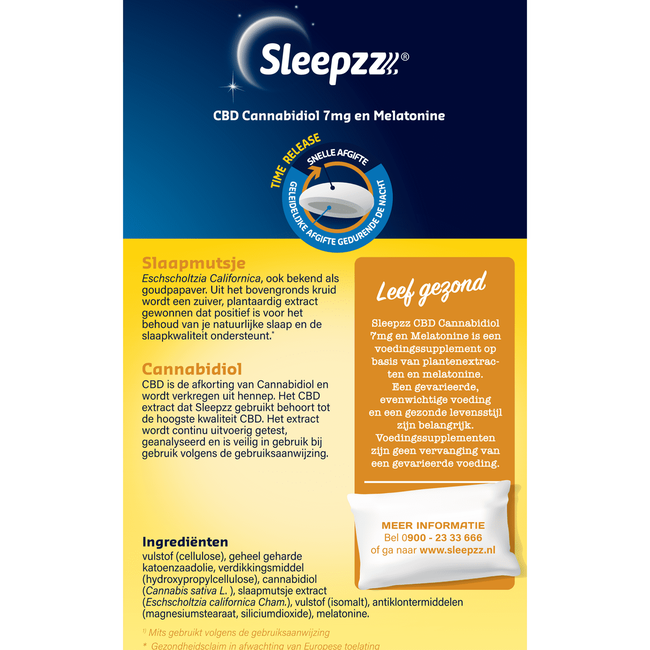 Sleepzz CBD Cannabidiol 7 mg en Melatonine 25 tabletten