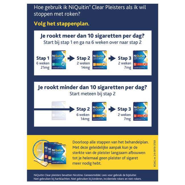 NiQuitin Clear Pleisters 14mg Stoppen met roken