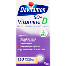 Davitamon Vitamine D 50+ Smelttabletten Citroensmaak