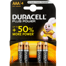 Duracell Alkaline Plus Power AAA X4 Batterijen