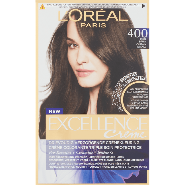L'Oréal Paris Excellence EXCELL FR/NL 400 True Brown Haarkleuring Bruin