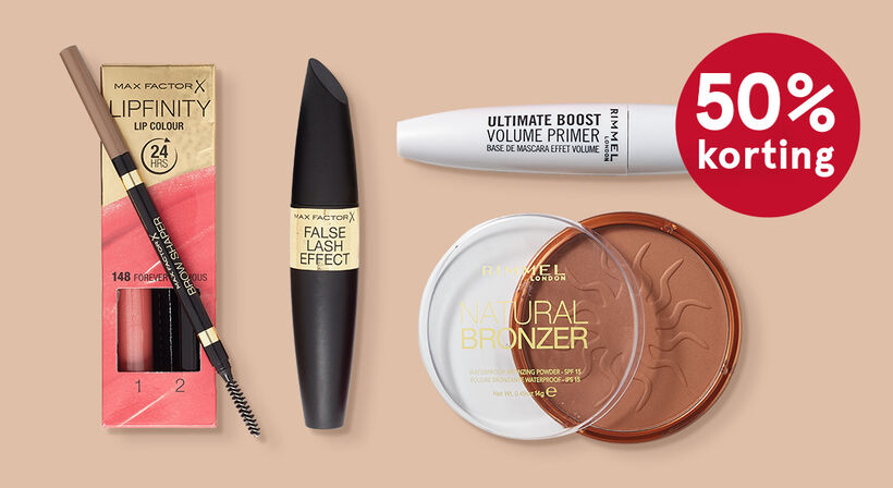 Alle Rimmel & Max Factor make-up 1+1 gratis