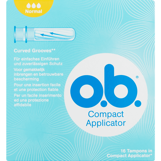o.b. Compact Applicator Curved Grooves Tampons